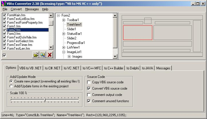 Software for converting MS Visual Basic 6.0 projects (including source code) to Microsoft VS VB.NET, C#, J#, VC.NET, VC++ (MFC), Borland Delphi, C++ Builder.